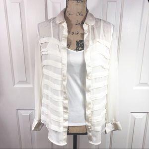 Elle Antique White 2 Piece Button Down Blouse EUC